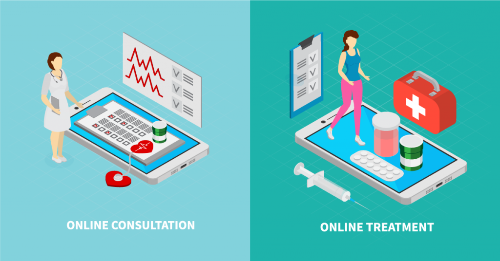 A picture that depicts video consultation and online doctor treatment.