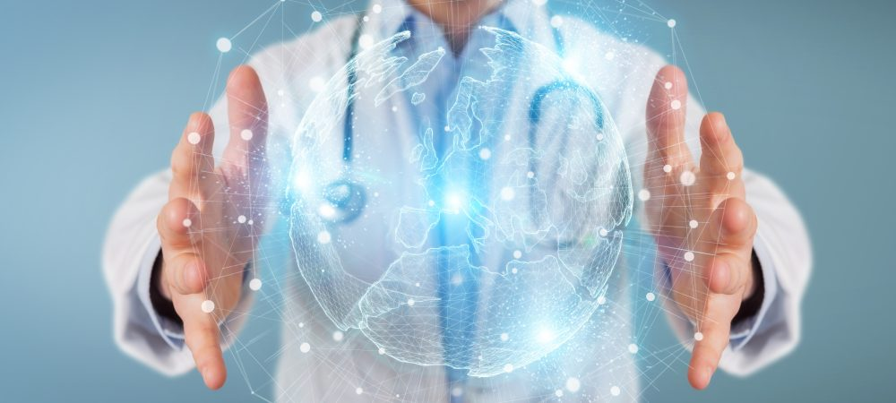 Image of doctor with a world holographic image